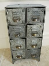 Small Bank of 8 Industrial Drawers Vintage Drawer Metal Storage Cabinet Cupboard