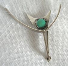 HENRY STEIG VINTAGE MODERN 1950'S STERLING SILVER & TURQUOISE PIN BROOCH