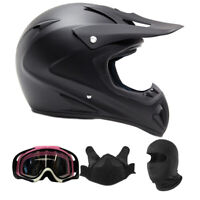 Adult Snocross Comb Matte Black Snowmobile Helmet Breathbox Goggles Balaclava