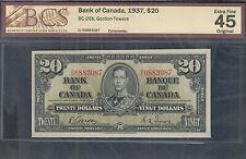 1937 $20.00 BC-25b BCS EF-45 ** King George VI BEAUTIFUL Canada Twenty Dollars