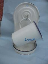 29469 Emaille enamel Schöpfer Wandhalter weiß white enamel holder cup 28x9x15cm