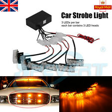 18 LED VAN TRUCK CAR FLASHING STROBE RECOVERY GRILL BEACON AMBER YELLOW LIGHTS
