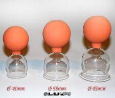 Schröpfglas Schröpfgläser 3 im SET 45 55 65 mm mit Saugball zum Schröpfen