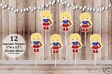 Set of 12 Supergirl Inspired Action Superhero Double Sided Cupcake Toppers