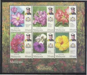 MALAYSIA 2016 JOHOR STATE GARDEN FLOWERS SOUVENIR SHEET OF 6 STAMPS IN MINT MNH