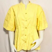 Orvis Size Medium Yellow Crinkle Button Front Puff Sleeve Top