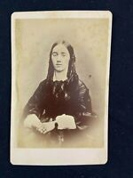 Photo Woman Long Curly Hair Dress Bracelet Vintage Cabinet Card Wright