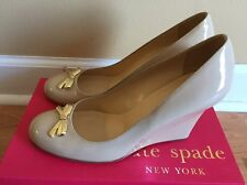 $298 Kate Spade Kendra Powder Beige Nude Patent Leather Wedge Pump Size 9.5