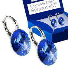 925 Sterling Silver Earrings *Sapphire* Genuine 12mm Crystals from Swarovski®