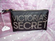 "NWT, ""VICTORIA'S SECRET BLACK RHINESTONE MAKE-UP BAG / PURSE"", leopard lining"