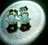 GENUINE ETHIOPIAN OPALS FACETED 5MM STUD EARRINGS 100% NATURAL EARTH-MINED