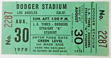 "8/30/70 L.A. DODGERS v CARDINALS baseball ticket STRAIGHT ""A"" STUDENTS"