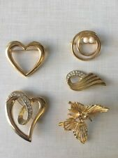 Gold Tone Brooch Lot Heart Butterfly Wedding Bouquet Craft