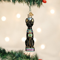Egyptian Cat Old World Christmas Tree Ornament Glass Travel Animal NWT 12443