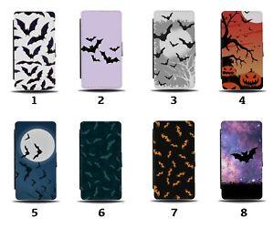 Bats Flip Wallet Case Bat Spooky Halloween Flying Silhouette Symbols Wings 8007a