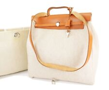 Auth HERMES Her Bag 2 in 1 Beige Canvas and Leather Hand Shoulder Bag #26110