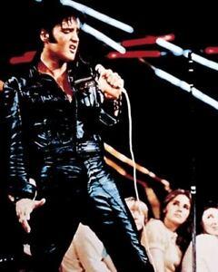 "Elvis Presley - Singing on Stage wearing Black Leather 8"" x 10"" Print - New"