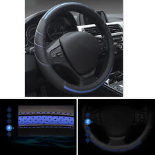 "15"" Black + Blue Leather Car Styling Steering Wheel Cover Protector Accessories"