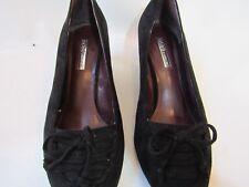BCBG Generation Black Suede Pointed Toe Tasseled High Heel Wedge Shoes Size 8