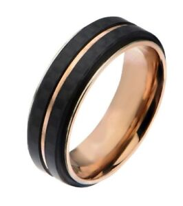 Inox Mens Rose Gold IP Double Line Carbon Fiber Ring Size 10