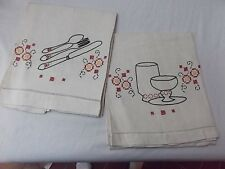 New listing vtg pair lot 2 kitchen linen embroid towel silverware knife fork spoon plate red