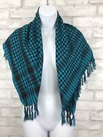"Herringbone Design Teal Blue Black Wrap Rayon Scarf 33x33"" Shawl With Fringe"