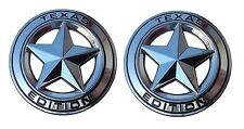 "(TWO) TEXAS STAR EDITION 3"" EMBLEMS CHROME/BLACK UNIVERSAL STICKON TUNDRA TACOMA"