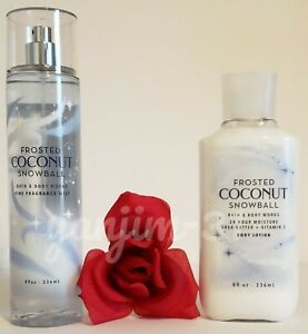 BATH AND BODY WORKS - FROSTED COCONUT SNOWBALL - BODY LOTION AND MIST SET - NEW