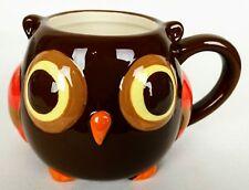 Owl Coffee Mug Cup Raised Ceramic Round Brown Orange Mesa Home Products 12 oz