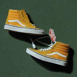VANS Sk8 Hi Shoes Mens Sz 6 Wmn 7.5 Cheddar Orange Leather Off The Wall NEW