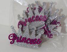 Princess Crown Glitter Foam decorations silver- fuchsia-small 10pcs