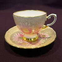 Tuscan England Bone China PINK FLOWERS Set Footed Cup & Saucer VINTAGE