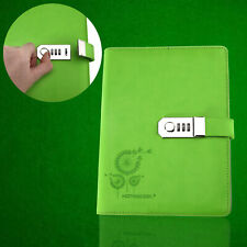 Large Diary Notebook PU Leather A5 Code Lock Secret Diary Girl Boy Kids Green