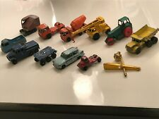 12 Piece Vintage Lesney Vehicle Lot Diecast & Plastic Trucks, Cars, Accessories