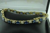 8.0Ct Oval Cut Blue Sapphire Diamond Womens Tennis Bracelet 14k Yellow Gold Over