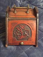 EXCEPTIONAL VICTORIAN 1800'S HEAVY BRASS HANDLE WOODEN COAL SCUTTLE BOX
