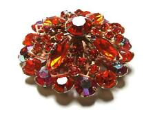 Vintage Aurora Borealis Orange Red Rhinestone Multi Layered Round Pin Brooch