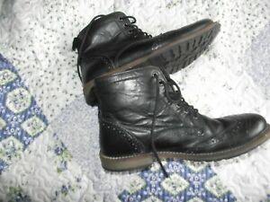 topman black leather boots casual /hiking size 9 uk good cond