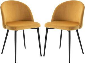 HOMCOM Velvet Set of 2 Dining Chairs, Mustard Yellow
