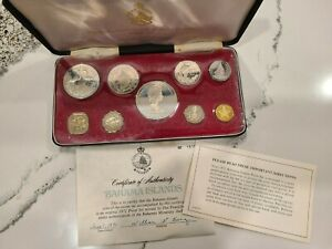 1971 Coinage of the Bahama Islands; 9 Coin Proof Set by Franklin Mint