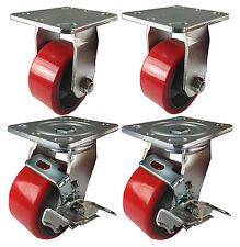 "4 Plate Casters 5"" Heavy Duty Cast Iron Hub Non Skid Mark Wheels 2 Swivel Brake"