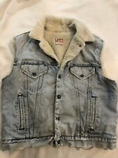 Vintage Levi's Sherpa San Francisco Trucker Denim Vest Jacket USA 44R Distressed