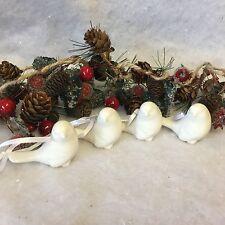 Set di 4 bianco in ceramica vintage Bird Albero di Natale Appeso Decorazione Bianco