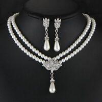 Choker Crystal Wedding Jewelry Set Pearl Pendant Bridal Earrings Necklace Set