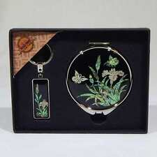 Korean Mother of Pearl Compact Mirror & Key Ring, Orchids & Butterfly on Black