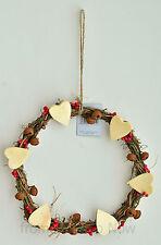 Gisela Graham Heart Twig Wreath with Bells Christmas Decoration Chic Shabby Xmas