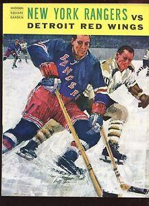 October 21 1964 NHL Hockey Program Detroit Red Wings at New York Rangers EX