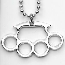 QTY 2 Silver Colored Brass Knuckle Chain Necklace Punk Goth Rock Jewelry #GYW604