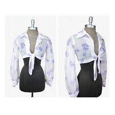 Sheer Crop Top / Long Sleeve Blouse