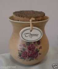 EARTHLY COLLECTIONS  POTTERY COTTAGE ROSE  THYME SPICE JAR